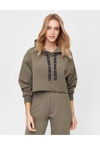 ICON - Bawełniana bluza z kapturem khaki. Typ kołnierza: kaptur. Kolor: zielony. Materiał: bawełna. Długość rękawa: długi rękaw. Długość: długie. Styl: elegancki
