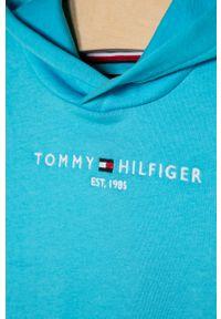 Morska bluza TOMMY HILFIGER z aplikacjami, z kapturem, na co dzień