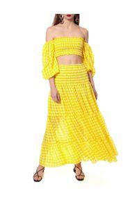 AGGI - Żółta spódnica w kratkę Lola. Kolor: żółty. Materiał: tkanina, jedwab, wiskoza. Wzór: kratka