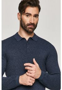 Niebieski sweter medicine casualowy, z długim rękawem, krótki