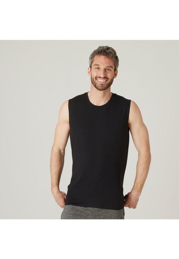 NYAMBA - Koszulka bez rękawów top fitness męski Nyamba. Materiał: bawełna, poliester, materiał, elastan. Długość rękawa: bez rękawów