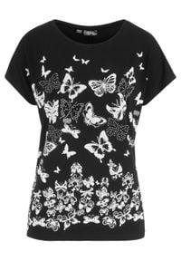 T-shirt z nadrukiem bonprix czarny z nadrukiem. Kolor: czarny. Wzór: nadruk