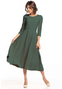 Tessita - Rozkloszowana Sukienka do Połowy Łydki - Khaki. Kolor: brązowy. Materiał: bawełna, elastan