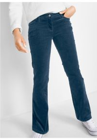 Spodnie sztruksowe ze stretchem Bootcut bonprix ciemnoniebieski. Kolor: niebieski. Materiał: sztruks