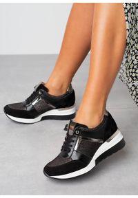 Kati - czarne sneakersy kati buty sportowe sznurowane 7049. Kolor: czarny. Materiał: skóra, welur, guma. Szerokość cholewki: normalna