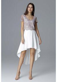 Figl - Ecru-Beżowy Dwuczęściowy Zestaw Koronkowa Bluzka + Asymetryczna Spódnica. Kolor: beżowy. Materiał: koronka. Typ sukienki: asymetryczne
