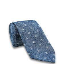 Modny Krawat Męski - Motyw Florystyczny -6,5cm- Chattier, Błękitno-Biały. Kolor: niebieski. Materiał: tkanina. Wzór: kwiaty. Styl: wizytowy, elegancki