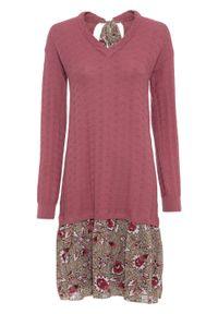 Sukienka dzianinowa ze spódniczką z tkaniny bonprix kremowy jeżynowy - beżowo-jasnoróżowy w kwiaty. Kolor: fioletowy. Materiał: tkanina, dzianina. Wzór: kwiaty