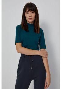 medicine - Medicine - T-shirt Basic. Okazja: na co dzień. Typ kołnierza: golf. Kolor: turkusowy. Materiał: bawełna, dzianina. Styl: casual