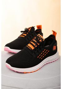 Casu - czarne buty sportowe sznurowane casu 204/43b. Kolor: pomarańczowy, czarny, wielokolorowy