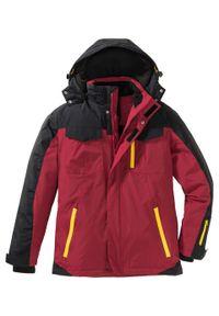 Kurtka zimowa funkcyjna bonprix ciemnoczerwono-czarny. Typ kołnierza: kaptur. Kolor: czerwony. Wzór: nadruk. Sezon: zima