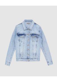 Patrizia Pepe - PATRIZIA PEPE - Jeansowa kurtka z kieszeniami. Typ kołnierza: kołnierzyk koszulowy. Kolor: niebieski. Materiał: jeans. Długość rękawa: długi rękaw. Długość: długie. Sezon: wiosna, lato