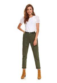 Zielone spodnie TOP SECRET w kolorowe wzory, klasyczne, na jesień