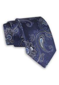 Granatowy Krawat w Duże Kwiaty - Chattier. Kolor: niebieski. Materiał: tkanina. Wzór: kwiaty. Styl: wizytowy, elegancki