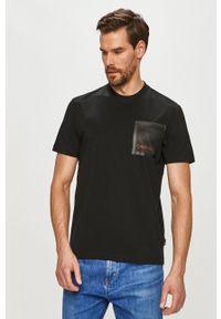 Czarny t-shirt Calvin Klein na co dzień, casualowy, gładki