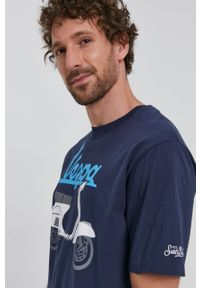 Mc2 Saint Barth - MC2 Saint Barth - T-shirt. Okazja: na co dzień. Kolor: niebieski. Wzór: nadruk. Styl: casual
