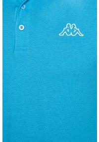 Niebieska koszulka polo Kappa casualowa, krótka, polo