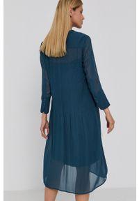 Samsoe & Samsoe - Samsoe Samsoe - Sukienka. Okazja: na co dzień. Kolor: zielony. Materiał: tkanina, włókno, materiał. Długość rękawa: długi rękaw. Wzór: gładki. Typ sukienki: proste. Styl: casual