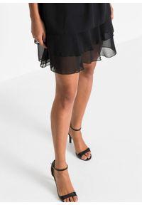 Sukienka szyfonowa bonprix czarny. Kolor: czarny. Materiał: szyfon