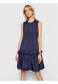 Niebieska sukienka Victoria Victoria Beckham prosta, casualowa