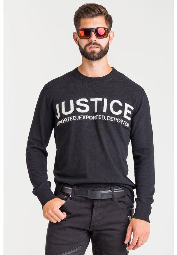 Sweter Just Cavalli z okrągłym kołnierzem, w kolorowe wzory