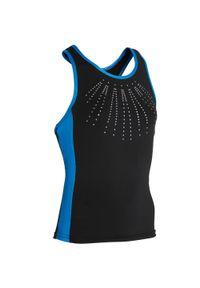 DOMYOS - Top do gimnastyki 500 damski. Kolor: czarny, niebieski, wielokolorowy. Materiał: elastan, poliester, materiał. Sport: joga i pilates