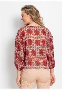 Bluzka oversize bonprix czerwono-beżowy w graficzny wzór. Kolor: czerwony