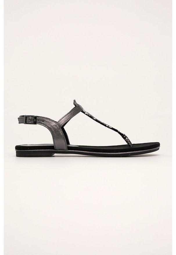 Szare sandały Marco Tozzi na klamry