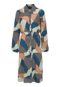 Niebieska sukienka Zoey z długim rękawem, szmizjerki