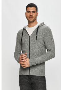 Szary sweter rozpinany Calvin Klein na co dzień, casualowy