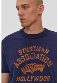 Premium by Jack&Jones - T-shirt. Okazja: na co dzień. Kolor: niebieski. Materiał: bawełna. Wzór: nadruk. Styl: casual