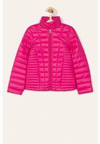 Różowa kurtka Guess Jeans casualowa, na co dzień, z kapturem