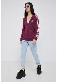 Adidas - adidas - Bluza. Okazja: na co dzień. Typ kołnierza: kaptur. Kolor: fioletowy. Materiał: bawełna, poliester. Styl: casual