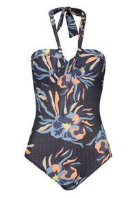 Kostium kąpielowy bonprix niebiesko-morelowy w roślinny wzór. Kolor: niebieski