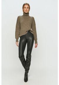 Szary sweter długi, z golfem, z długim rękawem