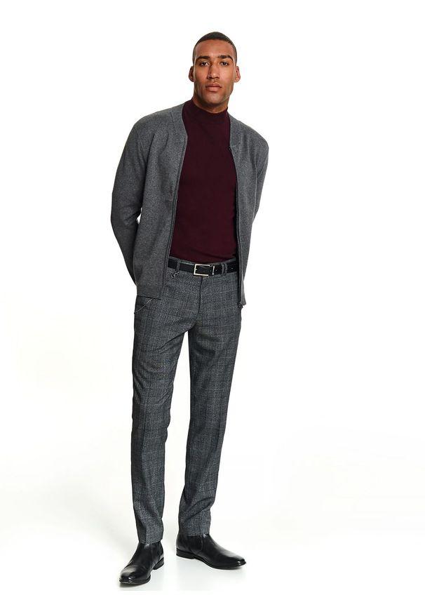 Szary sweter TOP SECRET elegancki, na jesień, w kolorowe wzory, krótki