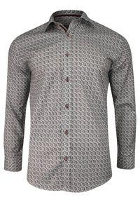 Zielona elegancka koszula Grzegorz Moda Męska do pracy, w geometryczne wzory