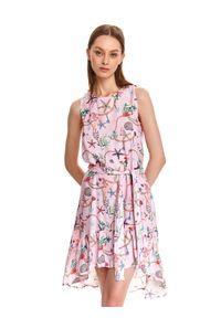 TOP SECRET - Asymetryczna sukienka z morskim nadrukiem. Kolor: różowy. Materiał: tkanina. Długość rękawa: na ramiączkach. Wzór: nadruk. Sezon: lato. Typ sukienki: asymetryczne. Styl: wakacyjny