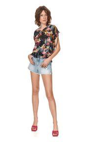TOP SECRET - Bluzka damska z wiązaniem na rękawach w kolorowe kwiaty. Kolor: czarny. Wzór: kwiaty, kolorowy