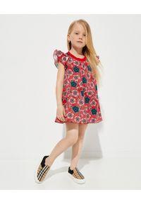 MONCLER KIDS - Czerwona sukienka w kwiaty 4-8 lat. Kolor: czerwony. Materiał: bawełna, prążkowany. Wzór: kwiaty. Sezon: lato. Typ sukienki: rozkloszowane