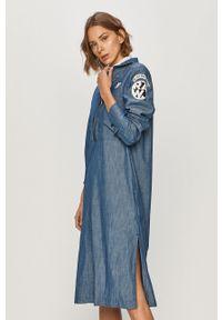 Niebieska sukienka G-Star RAW ze stójką, na co dzień
