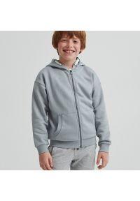 Reserved - Bluza dresowa z kapturem - Szary. Typ kołnierza: kaptur. Kolor: szary. Materiał: dresówka