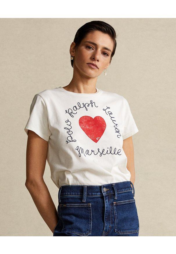 Ralph Lauren - RALPH LAUREN - Biały t-shirt z sercem. Typ kołnierza: polo. Kolor: biały. Materiał: bawełna
