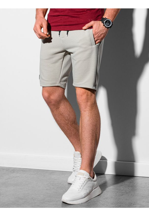 Ombre Clothing - Krótkie spodenki męskie dresowe W294 - jasnoszare - XXL. Kolor: niebieski. Materiał: dresówka. Długość: krótkie. Styl: sportowy, klasyczny