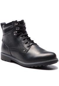 Czarne buty zimowe Geox klasyczne, na co dzień, z cholewką