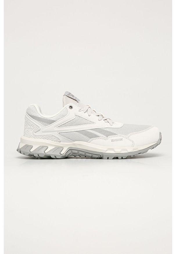 Białe buty sportowe Reebok na sznurówki, z okrągłym noskiem, z cholewką