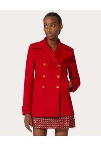 VALENTINO - Krótki czerwony płaszcz Roman Stud. Kolor: czerwony. Materiał: kaszmir, wełna. Długość: krótkie