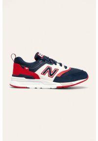 Niebieskie buty sportowe New Balance z okrągłym noskiem, na sznurówki, z cholewką
