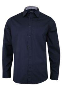 Niebieska elegancka koszula Chiao na spotkanie biznesowe, z długim rękawem, z aplikacjami, długa