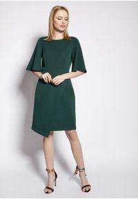 e-margeritka - Sukienka ołówkowa z szerokimi rękawami zielona - 44. Kolor: zielony. Materiał: tkanina, materiał, poliester. Typ sukienki: ołówkowe. Styl: elegancki. Długość: midi